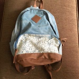 ✏️ Boho Lace Denim Backpack